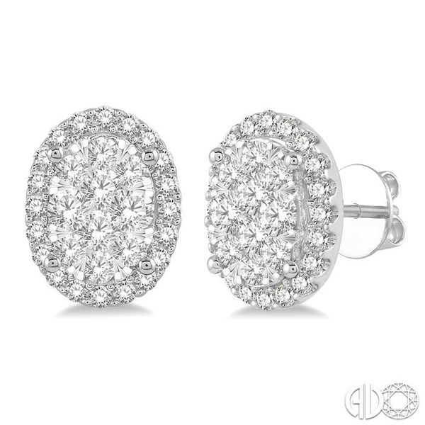 1 Ctw Oval Shape Lovebright Round Cut Diamond Stud Earrings in 14K White Gold Coughlin Jewelers St. Clair, MI