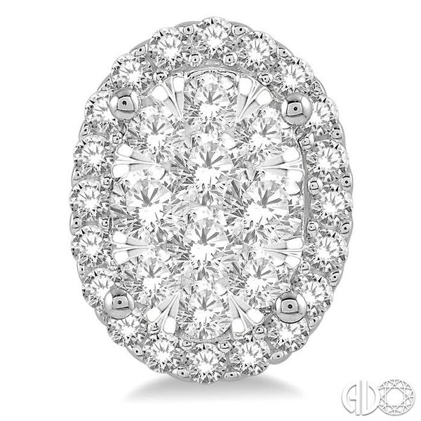 1 Ctw Oval Shape Lovebright Round Cut Diamond Stud Earrings in 14K White Gold Image 2 Coughlin Jewelers St. Clair, MI