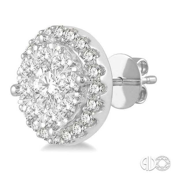 1 Ctw Lovebright Round Cut Diamond Stud Earrings in 14K White Gold Image 3 Coughlin Jewelers St. Clair, MI