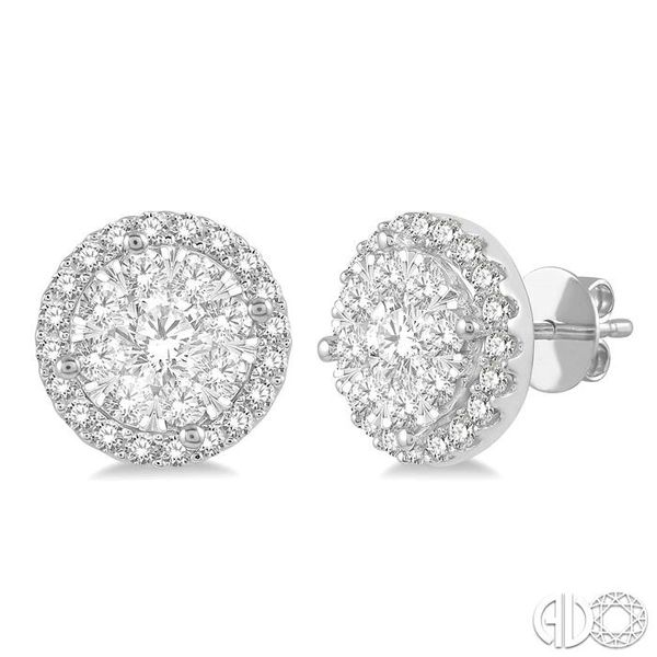 1 Ctw Lovebright Round Cut Diamond Stud Earrings in 14K White Gold Coughlin Jewelers St. Clair, MI