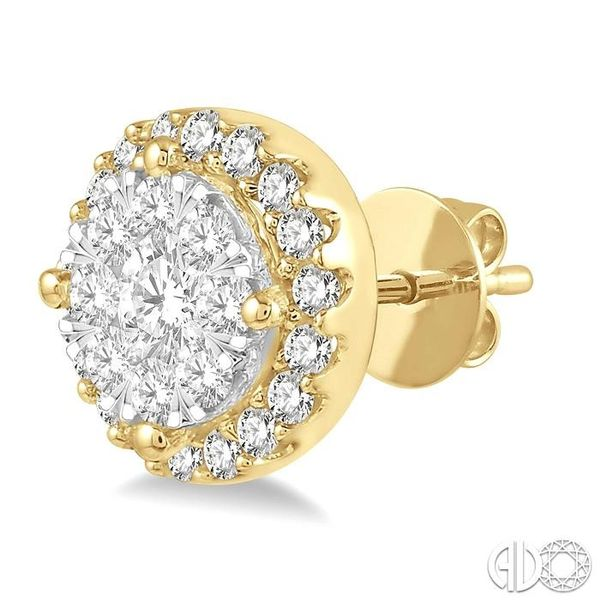 1/2 Ctw Lovebright Round Cut Diamond Stud Earrings in 14K Yellow and White Gold Image 3 Coughlin Jewelers St. Clair, MI