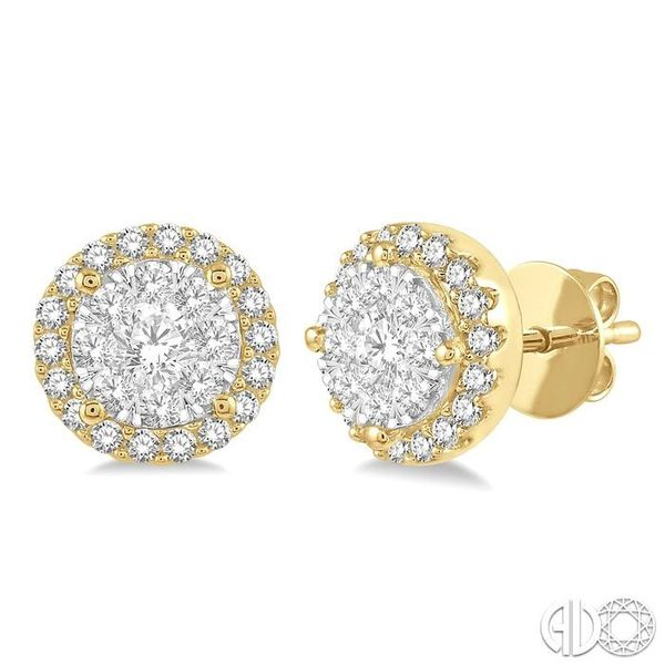 1/2 Ctw Lovebright Round Cut Diamond Stud Earrings in 14K Yellow and White Gold Coughlin Jewelers St. Clair, MI