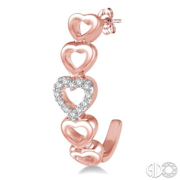 1/10 Ctw Five Heart Union Round Cut Diamond Stud Earrings in 10K Rose Gold Image 3 Coughlin Jewelers St. Clair, MI