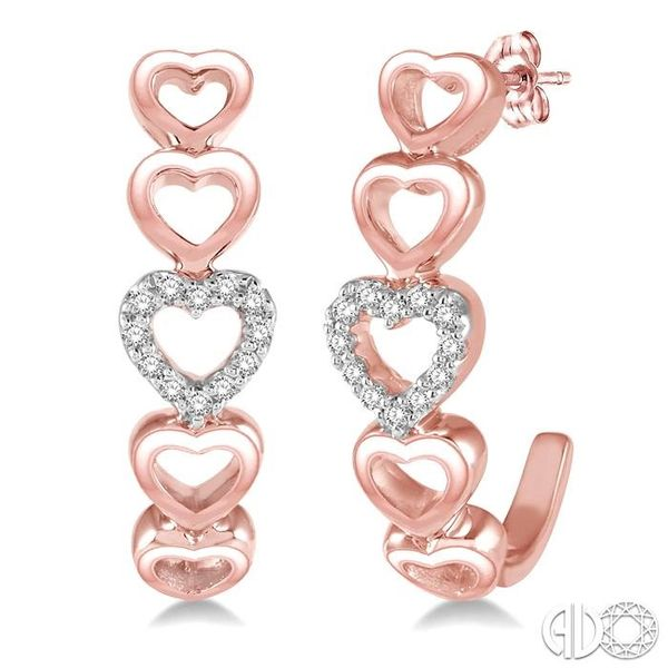 1/10 Ctw Five Heart Union Round Cut Diamond Stud Earrings in 10K Rose Gold Coughlin Jewelers St. Clair, MI