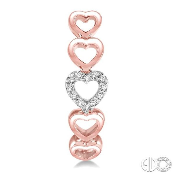 1/10 Ctw Five Heart Union Round Cut Diamond Stud Earrings in 10K Rose Gold Image 2 Coughlin Jewelers St. Clair, MI