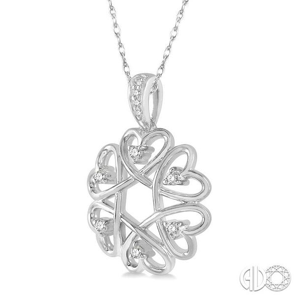 1/10 ctw Infinity Heart Round Cut Diamond Pendant With Chain in 10K White Gold Image 2 Coughlin Jewelers St. Clair, MI