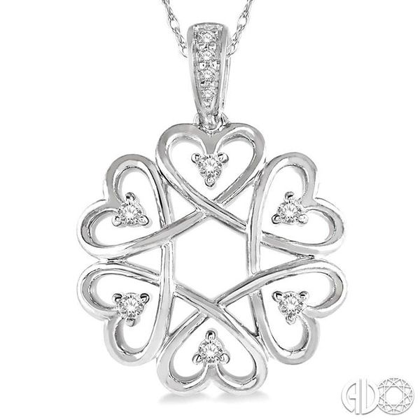 1/10 ctw Infinity Heart Round Cut Diamond Pendant With Chain in 10K White Gold Image 3 Coughlin Jewelers St. Clair, MI