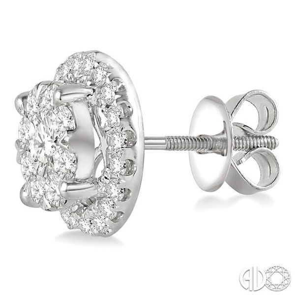 1 1/2 Ctw Lovebright Round Cut Diamond Earrings in 14K White Gold Image 3 Coughlin Jewelers St. Clair, MI