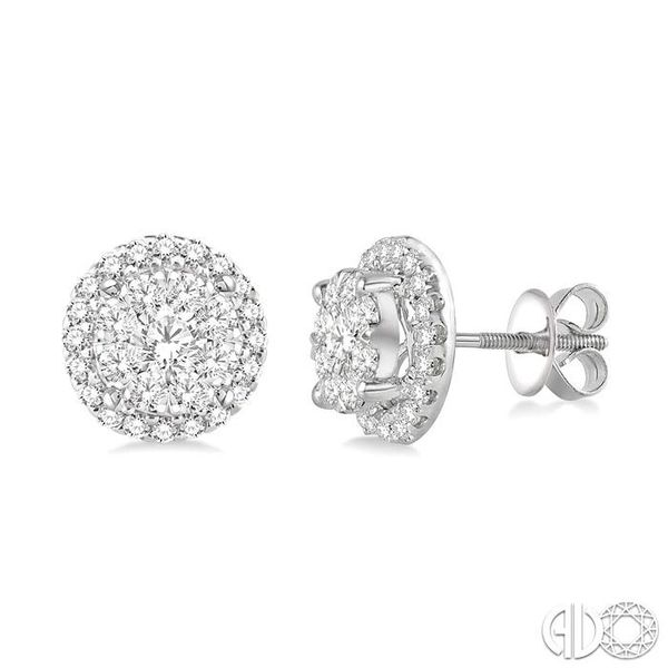 1 1/2 Ctw Lovebright Round Cut Diamond Earrings in 14K White Gold Coughlin Jewelers St. Clair, MI
