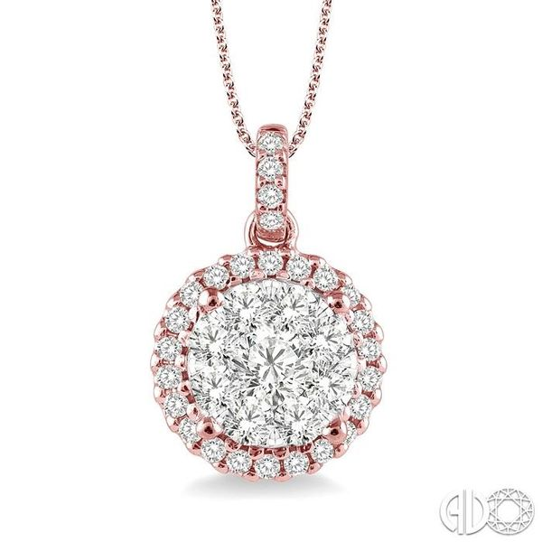 1 Ctw Lovebright Round Cut Diamond Pendant in 14K Rose and White Gold with Chain Coughlin Jewelers St. Clair, MI