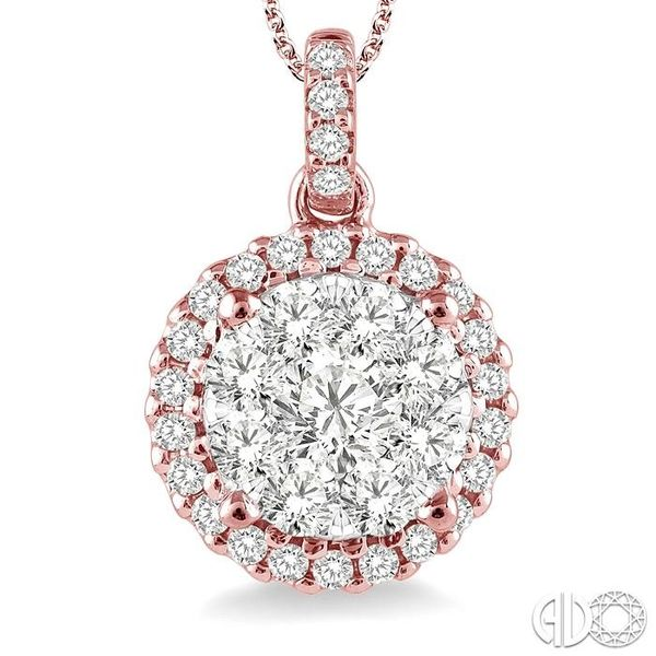 1 Ctw Lovebright Round Cut Diamond Pendant in 14K Rose and White Gold with Chain Image 3 Coughlin Jewelers St. Clair, MI
