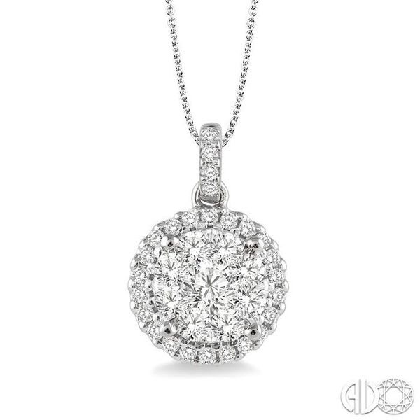 1 Ctw Lovebright Round Cut Diamond Pendant in 14K White Gold with Chain Coughlin Jewelers St. Clair, MI