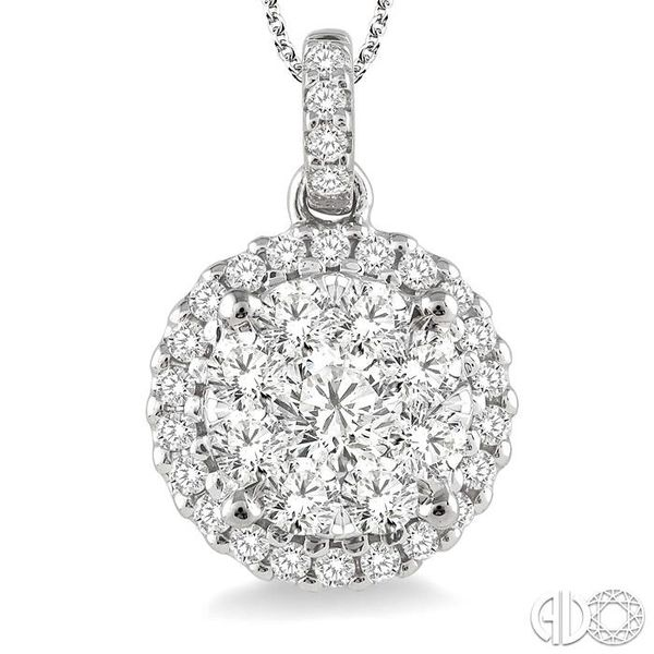 1 Ctw Lovebright Round Cut Diamond Pendant in 14K White Gold with Chain Image 3 Coughlin Jewelers St. Clair, MI