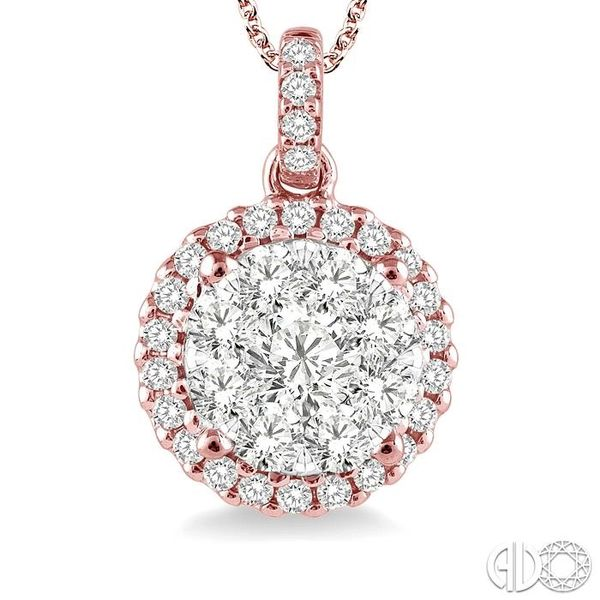 3/4 Ctw Lovebright Round Cut Diamond Pendant in 14K Rose and White Gold with Chain Image 3 Coughlin Jewelers St. Clair, MI