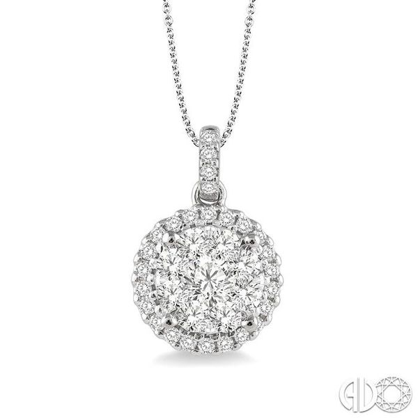 3/4 Ctw Lovebright Round Cut Diamond Pendant in 14K White Gold with Chain Coughlin Jewelers St. Clair, MI