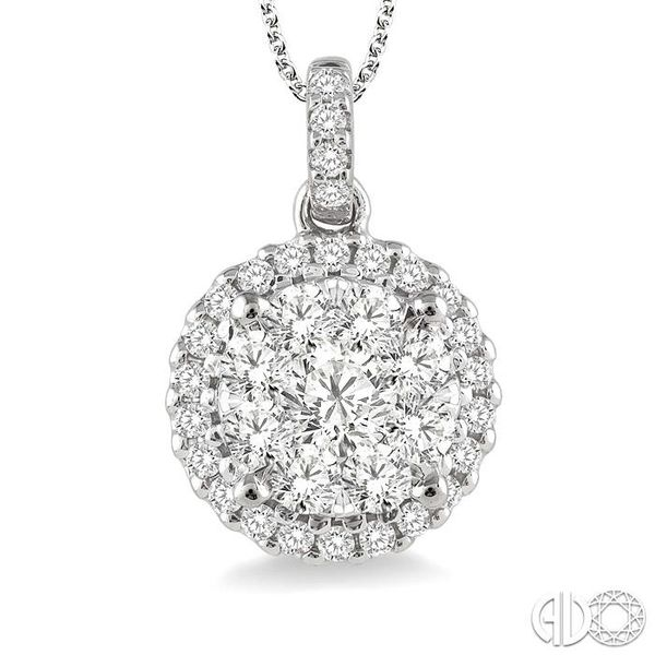 3/4 Ctw Lovebright Round Cut Diamond Pendant in 14K White Gold with Chain Image 3 Coughlin Jewelers St. Clair, MI