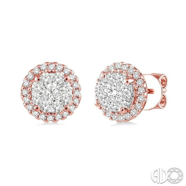 1/2 Ctw Lovebright Round Cut Diamond Earrings in 14K Rose and White Gold Coughlin Jewelers St. Clair, MI