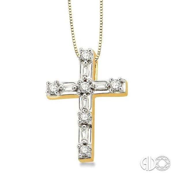 1/4 Ctw Diamond Cross Pendant in 14K Yellow Gold with chain Image 2 Coughlin Jewelers St. Clair, MI
