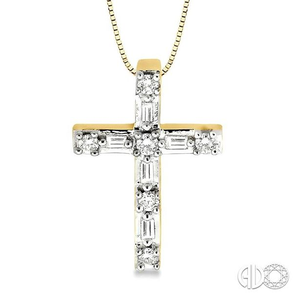 1/4 Ctw Diamond Cross Pendant in 14K Yellow Gold with chain Coughlin Jewelers St. Clair, MI