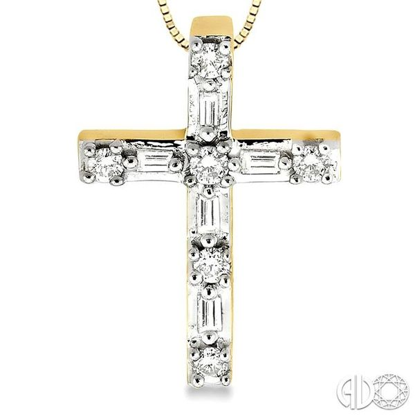 1/4 Ctw Diamond Cross Pendant in 14K Yellow Gold with chain Image 3 Coughlin Jewelers St. Clair, MI