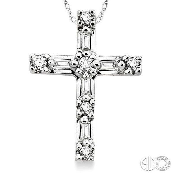 1/10 Ctw Diamond Cross Pendant in 14K White Gold with Chain Image 3 Coughlin Jewelers St. Clair, MI