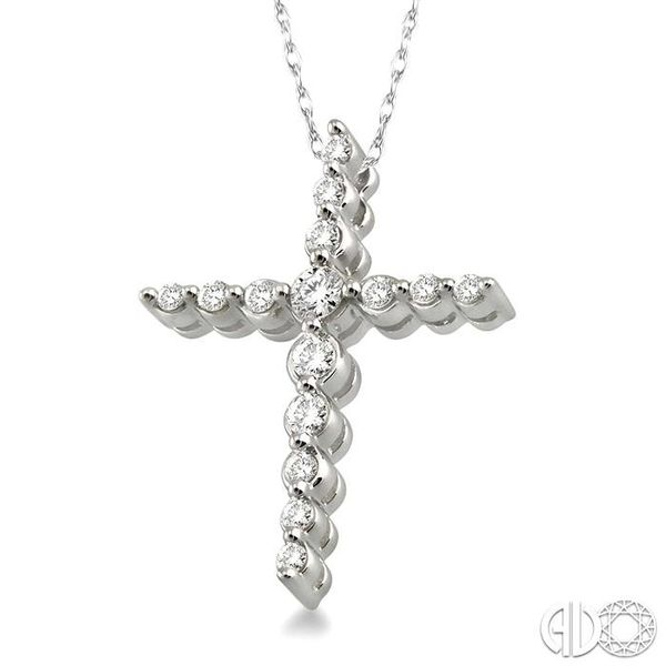 1/4 Ctw Round Cut Diamond Journey Cross Pendant in 14K White Gold with Chain Image 2 Coughlin Jewelers St. Clair, MI