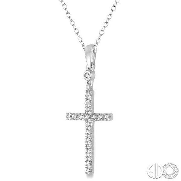 1/6 Ctw Round Cut Diamond Cross Pendant in 10K White Gold with Chain Image 2 Coughlin Jewelers St. Clair, MI
