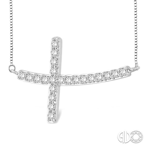 1/2 Ctw Round Cut Sideway Cross Pendant in 14K White Gold with Chain Image 2 Coughlin Jewelers St. Clair, MI
