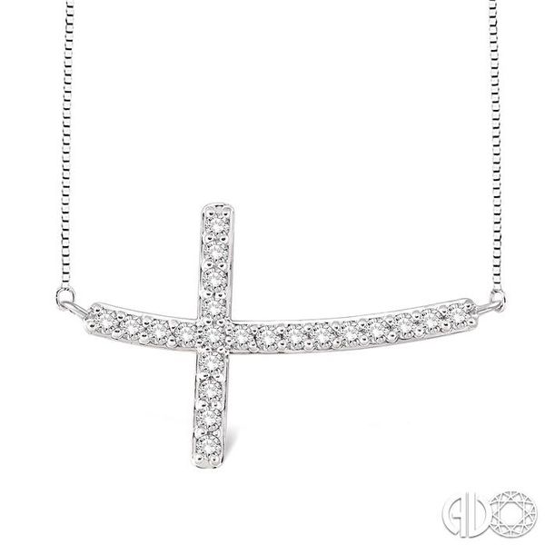 1/2 Ctw Round Cut Sideway Cross Pendant in 14K White Gold with Chain Coughlin Jewelers St. Clair, MI