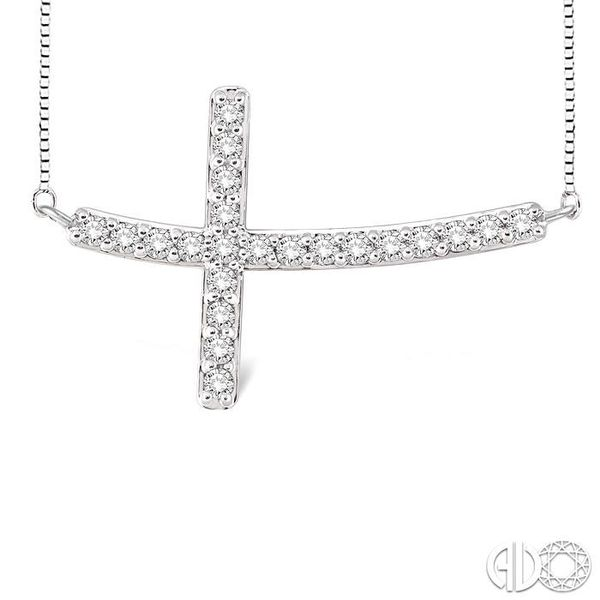 1/2 Ctw Round Cut Sideway Cross Pendant in 14K White Gold with Chain Image 3 Coughlin Jewelers St. Clair, MI