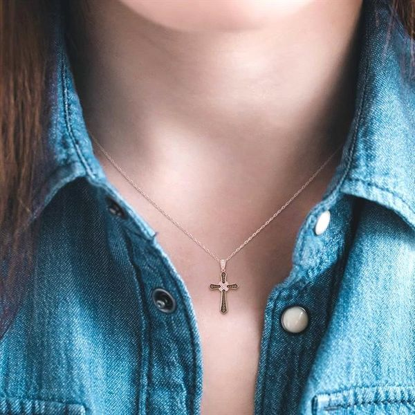 1/4 Ctw Round Cut White and Champagne Brown Diamond Cross Pendant in 10K Rose Gold with Chain Image 4 Coughlin Jewelers St. Clair, MI