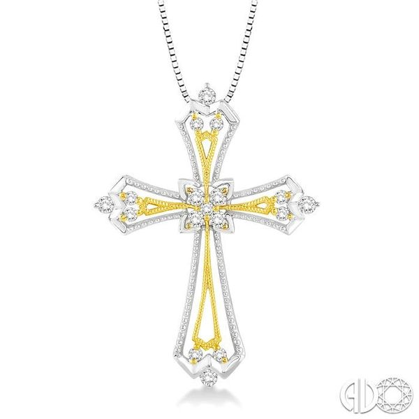 1/3 Ctw Round Cut Diamond Cross Pendant in 14K White and Yellow Gold with Chain Coughlin Jewelers St. Clair, MI