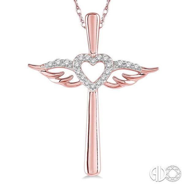 1/10 ctw Angel Wing & Heart Round Cut Diamond Cross Pendant With Chain in 10K Rose Gold Image 3 Coughlin Jewelers St. Clair, MI
