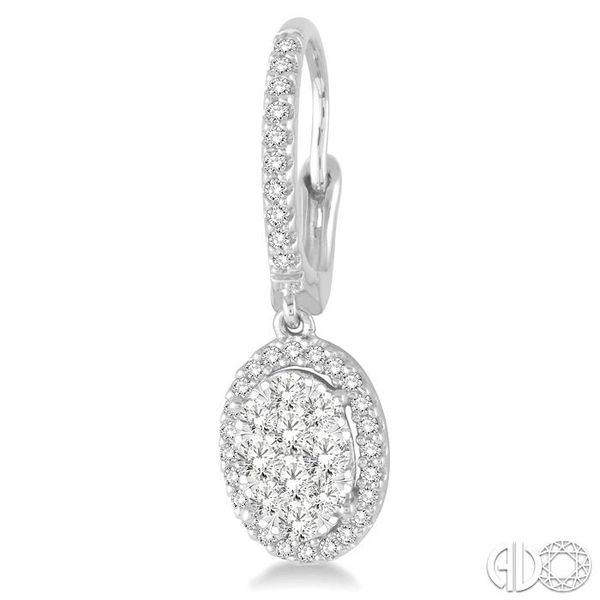 2 Ctw Oval Shape Diamond Lovebright Earrings in 14K White Gold Image 3 Coughlin Jewelers St. Clair, MI