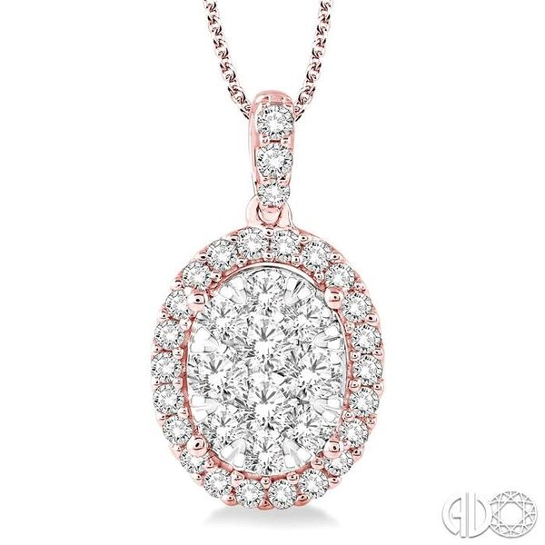 2 Ctw Oval Shape Diamond Lovebright Pendant in 14K Rose and White Gold with Chain Coughlin Jewelers St. Clair, MI