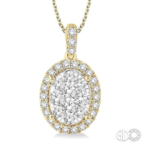 2 Ctw Oval Shape Diamond Lovebright Pendant in 14K Yellow Gold with Chain Coughlin Jewelers St. Clair, MI