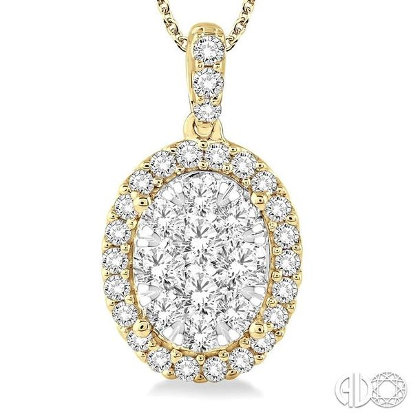 2 Ctw Oval Shape Diamond Lovebright Pendant in 14K Yellow Gold with Chain Image 3 Coughlin Jewelers St. Clair, MI