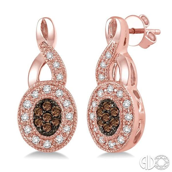 3/8 Ctw Round Cut White and Champagne Brown Diamond Earrings in 10K Rose Gold Coughlin Jewelers St. Clair, MI