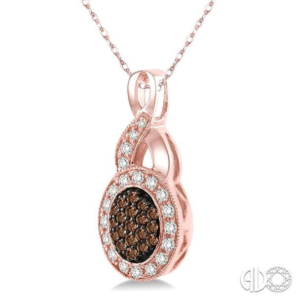 1/3 Ctw Round Cut White and Champagne Brown Diamond Pendant in 10K Rose Gold with Chain Image 2 Coughlin Jewelers St. Clair, MI