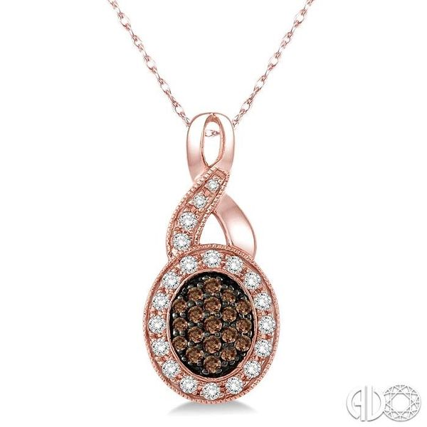 1/3 Ctw Round Cut White and Champagne Brown Diamond Pendant in 10K Rose Gold with Chain Coughlin Jewelers St. Clair, MI