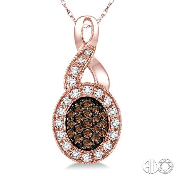 1/3 Ctw Round Cut White and Champagne Brown Diamond Pendant in 10K Rose Gold with Chain Image 3 Coughlin Jewelers St. Clair, MI