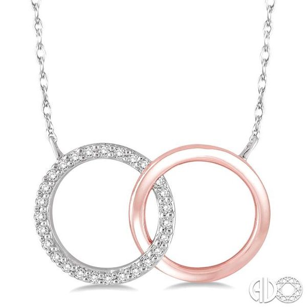 1/6 Ctw Round Cut Diamond Circle n Circle Pendant in 14K White and Rose Gold with Chain Coughlin Jewelers St. Clair, MI