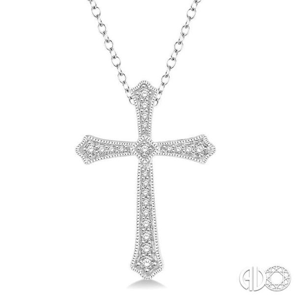1/4 Ctw Cross Charm Round Cut Diamond Pendant With Link Chain in 14K White Gold Coughlin Jewelers St. Clair, MI