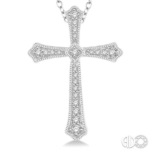1/4 Ctw Cross Charm Round Cut Diamond Pendant With Link Chain in 14K White Gold Image 3 Coughlin Jewelers St. Clair, MI