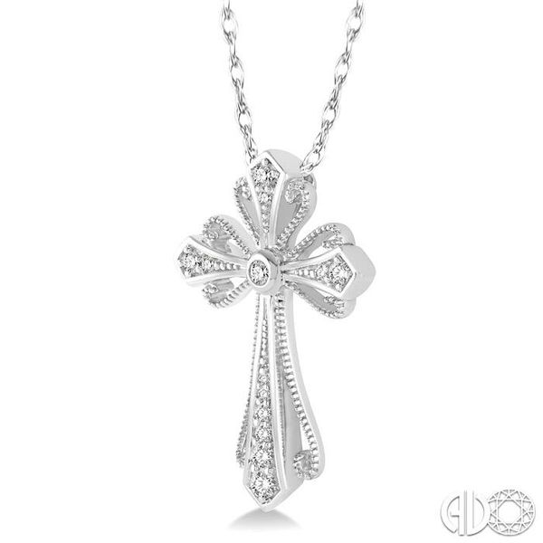 1/6 Ctw Vintage Cross Charm Round Cut Diamond Pendant With Link Chain in 10K White Gold Image 2 Coughlin Jewelers St. Clair, MI