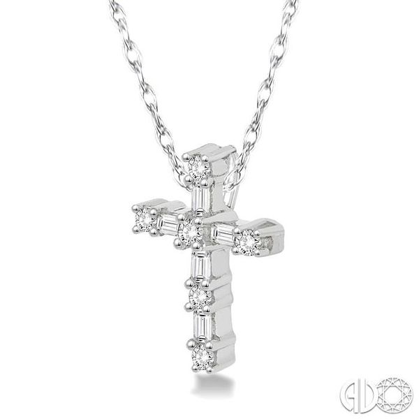 1/20 Ctw Round Cut Diamond Cross Pendant in 10K White Gold with Chain Image 2 Coughlin Jewelers St. Clair, MI