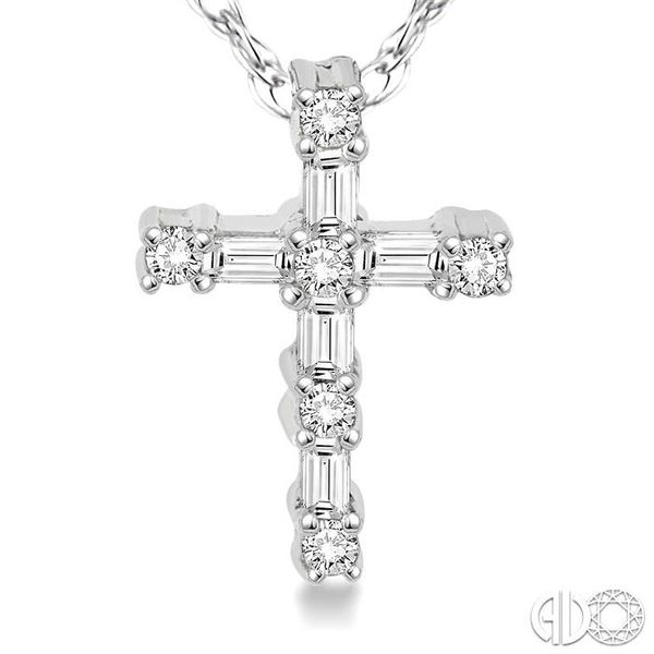 1/20 Ctw Round Cut Diamond Cross Pendant in 10K White Gold with Chain Image 3 Coughlin Jewelers St. Clair, MI