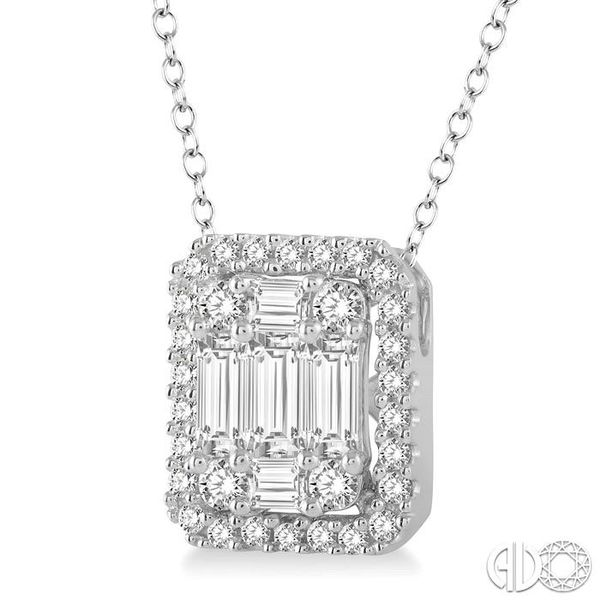 3/4 Ctw Octagonal Baguette & Round Cut Diamond Pendant With Box Chain in 14K White Gold Image 2 Coughlin Jewelers St. Clair, MI