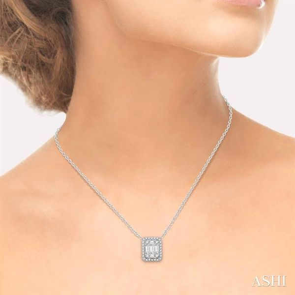 3/4 Ctw Octagonal Baguette & Round Cut Diamond Pendant With Box Chain in 14K White Gold Image 4 Coughlin Jewelers St. Clair, MI