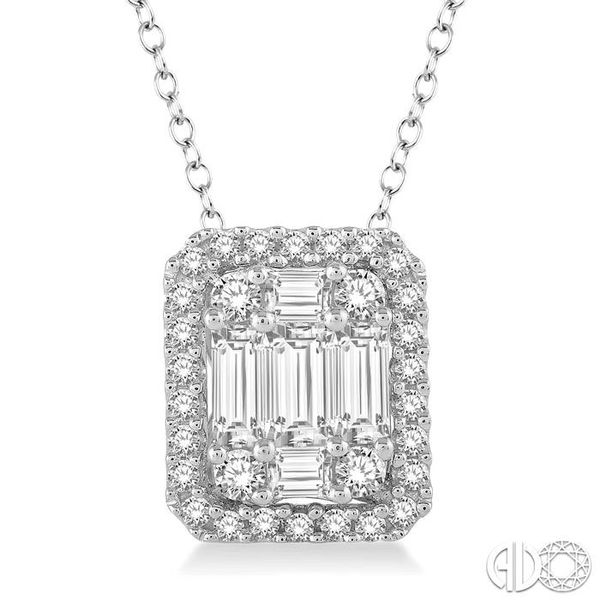3/4 Ctw Octagonal Baguette & Round Cut Diamond Pendant With Box Chain in 14K White Gold Coughlin Jewelers St. Clair, MI